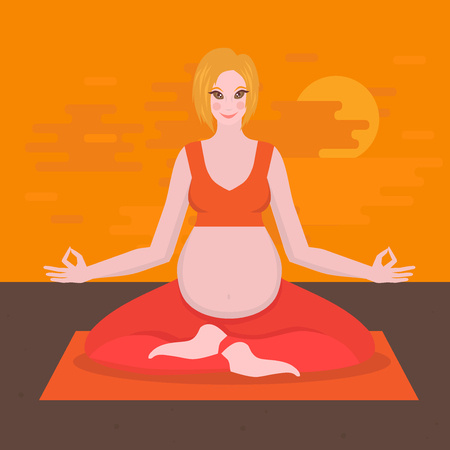 motherhood: yoga poses for pregnant women, future mother, healthy lifestyle exercises, baby care, motherhood and fitness flat