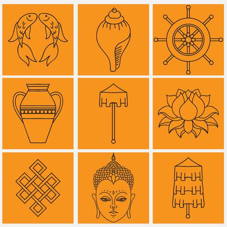 symbolisme bouddhiste, Les 8 symboles auspicieux du bouddhisme, droit enroulé blanc Conch, Precious Umbrella, Bannière de la Victoire, Golden Fish, Roue de Dharma, Auspicious Dessin, Fleur de Lotus, Vase de trésor. Icon set