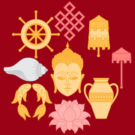 Boeddhistische symboliek, De 8 Gunstige Symbolen van het boeddhisme, Right-opgerold White Conch, Precious Umbrella, Victory Banner, gouden vis, Dharma Wheel, Gunstige Tekenen, Lotus Flower, Vaas van Treasure. Icon set