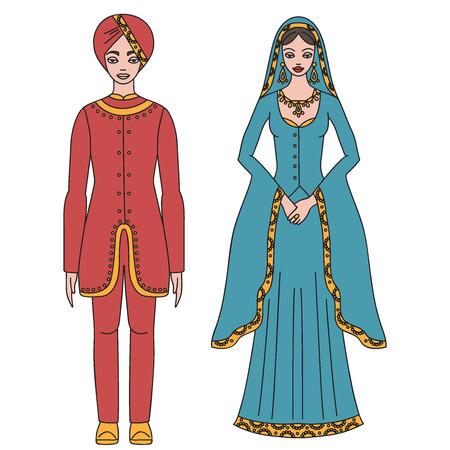 Vêtements traditionnels turc, tissu moyen orient national, homme et femme costume de sultan isolé, turc robe contour