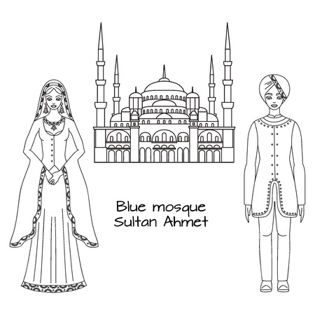 hagia sophia: Traditional turkish clothing, national middle east cloth, man and woman sultan costume and The Blue Mosque, Sultanahmet Camii, Istanbul, Turkey, middle east islamic architecture outline