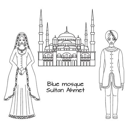 vêtements traditionnels turcs, tissu, homme et femme sultan costume moyen orient national et la Mosquée Bleue, Sultanahmet Camii, Istanbul, Turquie, est l'architecture islamique contour milieu