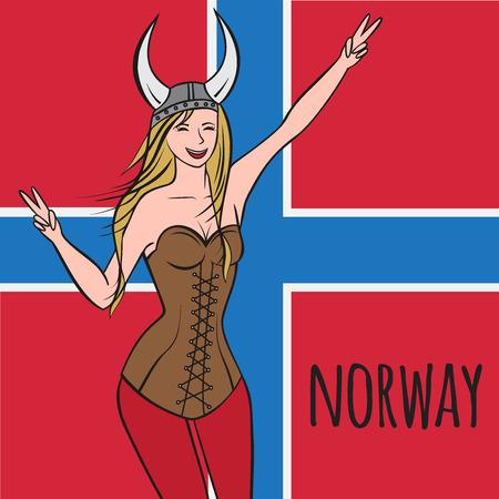 scandinavian girl: Vikings warriors nordic girl, scandinavian woman in helmet. Norwegian culture, Morway outline