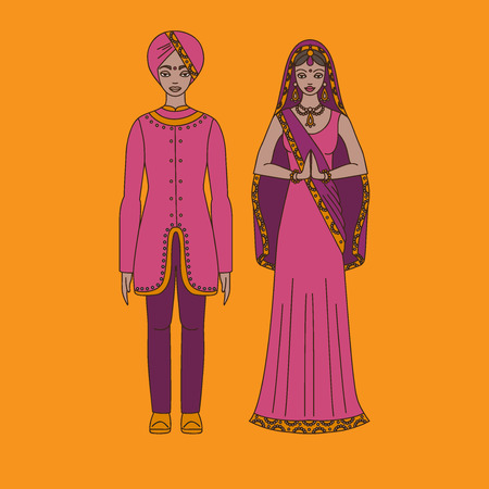 indian teenager: South Asia beautiful woman and man wearing indian traditional cloth, hinduism costume, sari on background outline