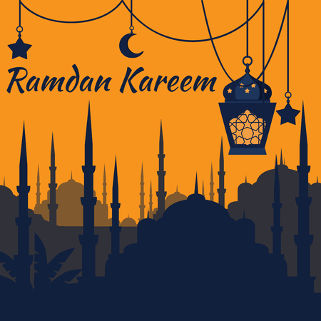 moon shadow: Ramadan Kareem - Islamic Holy Nights, Theme Design background, Ramadan latern, saint fest, arabian and turk religion culture set. Mosque with minaret, east cityscape, Night city Illustration