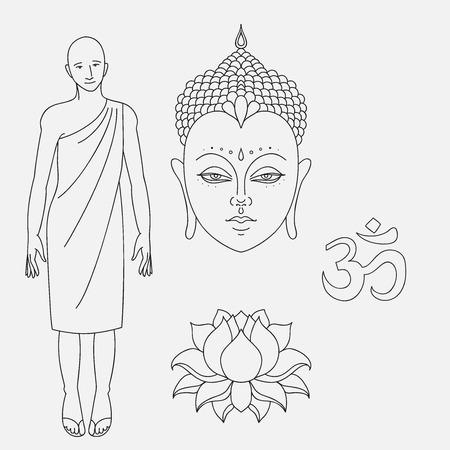 buddha lotus: Head of Buddha. Om sign. Outline buddhist monk. Hand drawn lotus flower. Isolated icons of Mudra. Beautiful detailed, serene. Vintage decorative elements. Indian, Hindu motifs. Illustration
