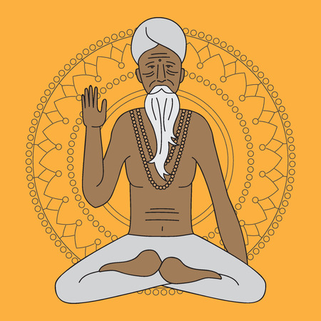 yoga meditating sadhu Illustration