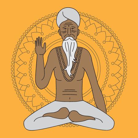sadhu: yoga meditating sadhu Illustration