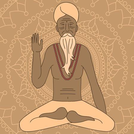 meditating: yoga meditating sadhu Illustration