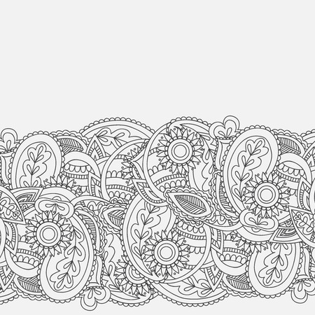 mhendi: Henna Mehndi Card Template. Mehndi invitation design,  Element for decoration invitations and cards, floral line art Paisley ornament. Illustration