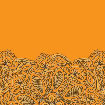 mhendi: Henna Mehndi Card Template. Mehndi invitation design,  Element for decoration  cards, floral line art Paisley ornament