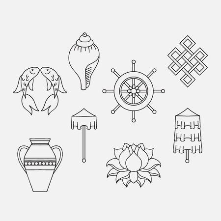 symbolisme bouddhiste, Les 8 symboles auspicieux du bouddhisme, droit enroulé blanc Conch, Precious Umbrella, Bannière de la Victoire, Golden Fish, Roue de Dharma, Auspicious Dessin, Fleur de Lotus, Vase de trésor. Icon set Vecteurs