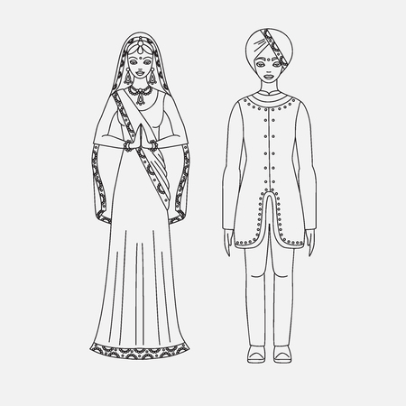 indian teenager: South Asia beautiful woman and man wearing indian traditional cloth, hinduism costume, sari on white background outline