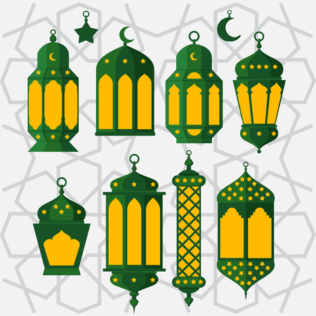 Ramadan Kareem - Islamic Holy Nights, Theme Design background, Ramadan latern, saint fest, arabian and turk religion culture set