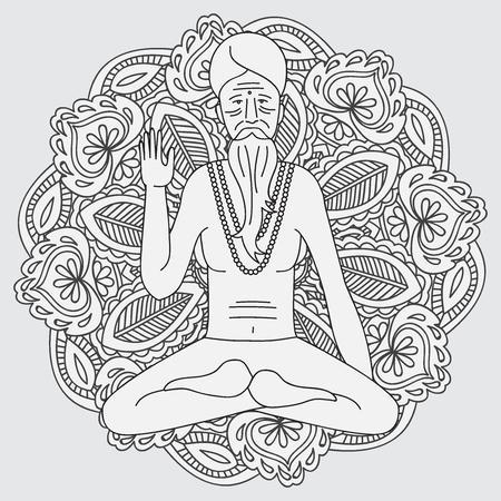 man meditating: yoga meditating sadhu,  asia hinduism monk, india religious guru man character, mandala Illustration