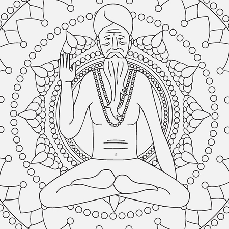guru: yoga meditating sadhu,  asia hinduism monk, india religious guru man character, mandala Illustration