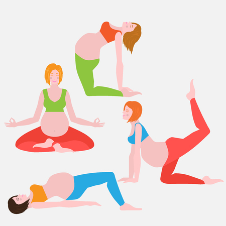 pregnancy exercise: yoga poses for pregnant women, future mother, healthy lifestyle exercises set, baby care, motherhood and fitness flat