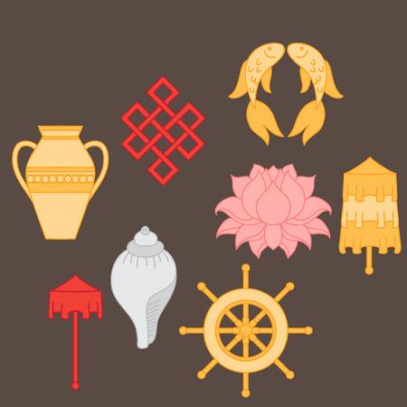 Buddhist symbolism, The 8 Auspicious Symbols of Buddhism, Right-coiled White Conch, Precious Umbrella, Victory Banner, Golden Fish, Dharma Wheel, Auspicious Drawing, Lotus Flower, Vase of Treasure. Icon set