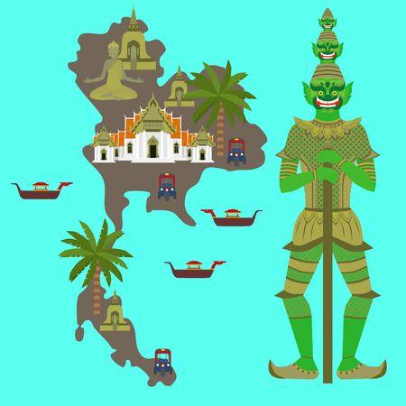 タイのシンボルとマップ、大理石の寺院 Benchamabophit、ガーディアン巨大 Yaksha 仏教ストゥーパ - チェディ、伝統的なロングテール ボート、タイのタ  イラスト・ベクター素材