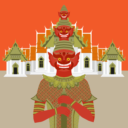 Thai Temple Guardian Giant , Thailand Yaksha demon statue, Buddhism symbol in Bangkok, Asian spirit sculpture