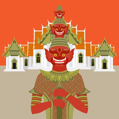guardian: Thai Temple Guardian Giant , Thailand Yaksha demon statue, Buddhism symbol in Bangkok, Asian spirit sculpture