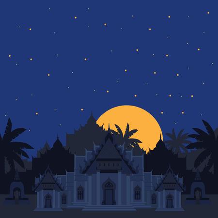 有名な大理石寺院バンコク、ワット ・ タイ、夜景の仏教寺院から道程 Benchamabophit Dusitvanaram アジア