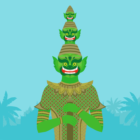 buddhism: Thai Temple Guardian Giant , Thailand Yaksha demon statue, Buddhism symbol in Bangkok, Asian spirit sculpture in tropical forest