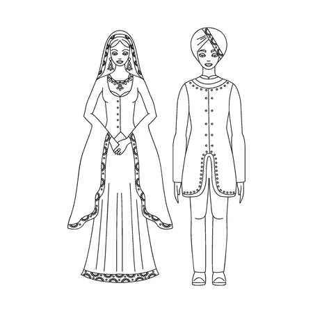 Traditional turkish clothing, national middle east cloth, man and woman sultan costume isolated on white background, turkish dress outline Illustration