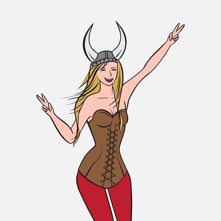 scandinavian girl: Vikings warriors nordic boy and girl, scandinavian man and woman in helmet. Norwegian culture and nature, Morway landscape outline