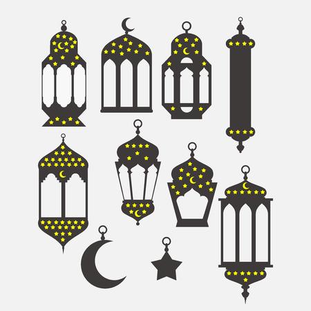 nights: Ramadan Kareem - Islamic Holy Nights, Theme Design background, Ramadan latern, saint fest, arabian and turk religion culture set