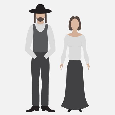 estereotipo: judio ortodoxo. icono plana. Hebrea de Israel, el hombre y la mujer judía en tela religios. personajes planos estereotipo tradicional