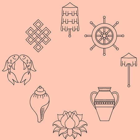 Buddhist symbolism, The 8 Auspicious Symbols of Buddhism, Right-coiled White Conch, Precious Umbrella, Victory Banner, Golden Fish, Dharma Wheel, Auspicious Drawing, Lotus Flower, Vase of Treasure. Icon set
