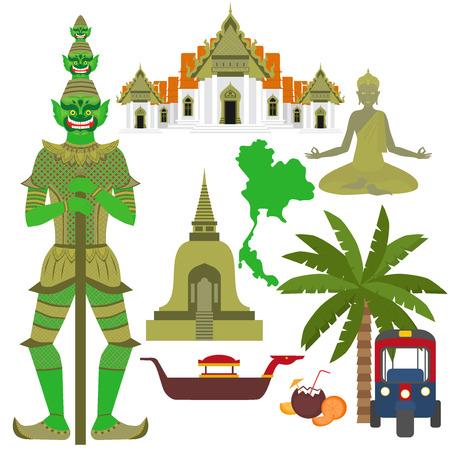 タイのシンボル、大理石寺院 Benchamabophit、ガーディアンの巨人 Yaksha、仏教の仏舎利塔仏舎利塔、伝統的なロングテール ボート、タイのタクシー車両