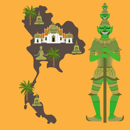 Map with Thailand symbols, marble Temple Benchamabophit, Guardian Giant Yaksha, Buddhist stupa - chedi, sculpture of Buddha
