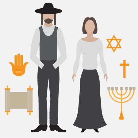 Orthodox jew, man and woman. Flat icon symbols of Judaism minora, david star, anchovy and scroll. Illustration