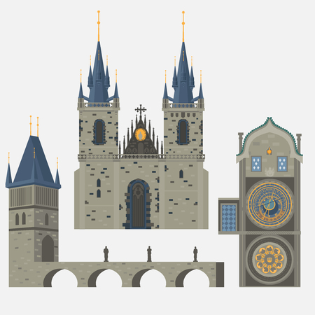 Prague town, Czech Republic. Church of Mother of God before Tyn, Old Town Square in European city. Famous, tourists travel, popular routs. Vettoriali