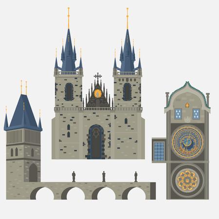 Prag Stadt, Tschechische Republik. Kirche der Mutter Gottes vor Tyn, dem Altstädter Ring in der europäischen Stadt. Berühmt, Touristen reisen, populäre Router.