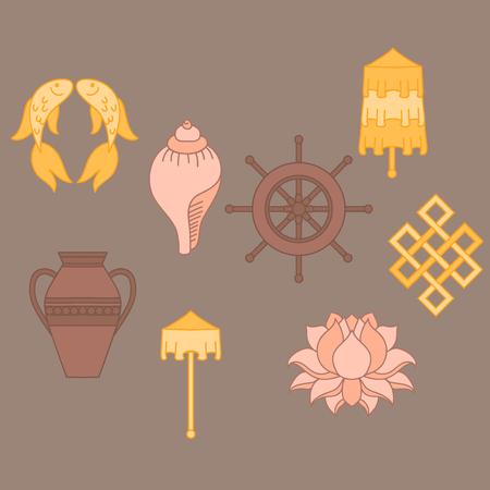 signo infinito: simbolismo budista, los 8 símbolos propicios del budismo, en espiral-Derecha White Conch, Precious paraguas, bandera de la victoria, pez dorado, la rueda de Dharma, propicio del dibujo, la flor de loto, florero de tesoro. icono de conjunto