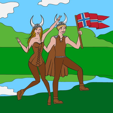Vikings warriors nordic boy and girl, scandinavian man and woman in helmet. Norwegian culture and nature, Morway landscape outline