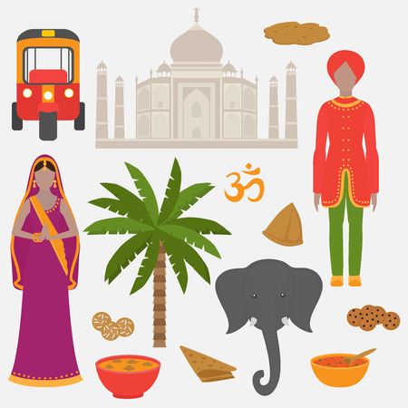 India symbols set. Hinduism design elements. South Asia beautiful woman and man wearing indian traditional cloth. Vedic cuisine, set of vegetarian healthy food Illustration