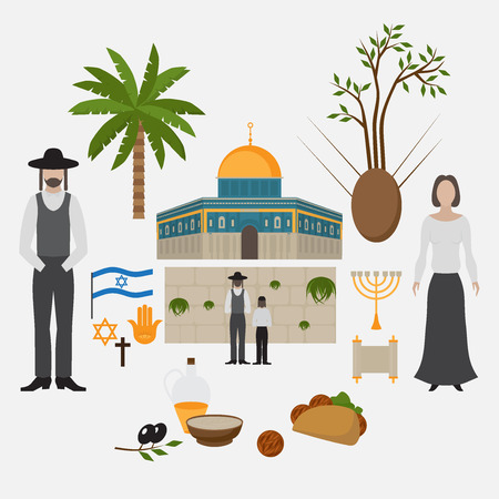 Symbol and design elements Jerusalem, Israel. Travel landmarks. Al-Aqsa Mosque Dome of the rock. Religios architecture
