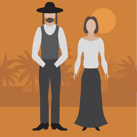 Orthodox jew, man and woman. Flat judaism traditonal religious character.