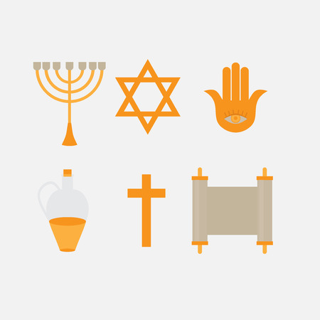 talmud: Flat icon symbols of Judaism minora, david star, anchovy and scroll. Ortodox jew traditonal religious logo Illustration