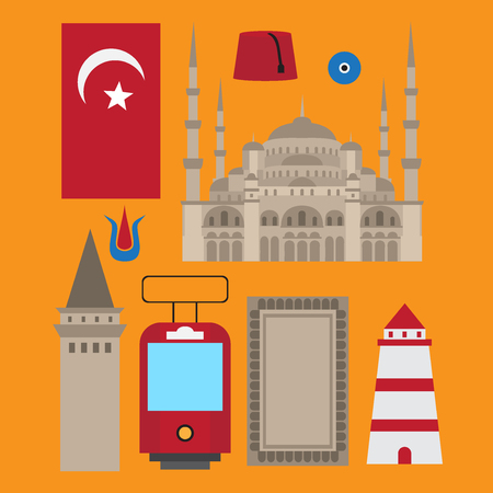 Turkish flat set design elements, landmark of Istanbul, Turkey. Symbols, architecture and food