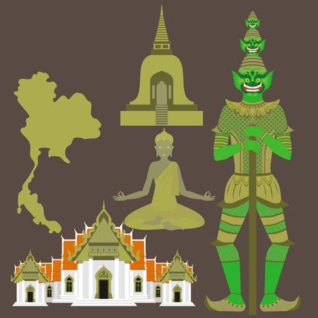 タイのシンボル、大理石寺院 Benchamabophit、ガーディアン巨大 Yaksha 仏教ストゥーパ - 仏塔、仏の彫刻  イラスト・ベクター素材