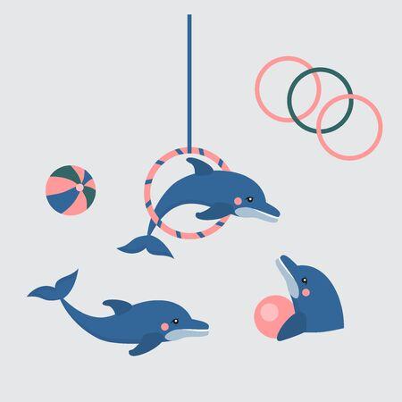 dolphin show dolphinarium, sea lion, seal, aqua circus and ocian animal Illustration