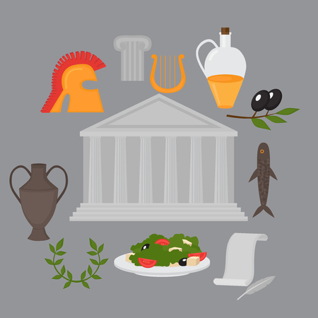 antiquities: Travel Greek Culture Landmarks and cultural features flat icons design set