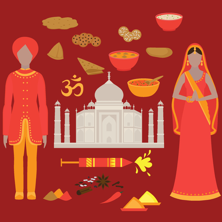 chutney: India set. Hinduism design elements. South Asia beautiful woman and man wearing indian traditional cloth. Taj Mahal Temple Landmark in Agra. Vedic cuisine, set of vegetarian healthy food. Holi traditional festival of colours.