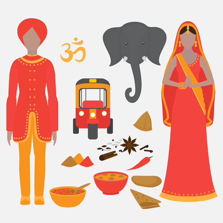 vedic: India symbols set. Hinduism design elements. South Asia beautiful woman and man wearing indian traditional cloth. Vedic cuisine, set of vegetarian healthy food. Holi objects for traditional festival of colours.