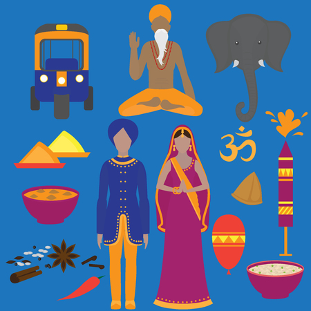 sadhu: India symbols set. Hinduism design elements. South Asia beautiful woman and man wearing indian traditional cloth. Vedic cuisine, set of vegetarian healthy food. Holi objects for traditional festival of colours.